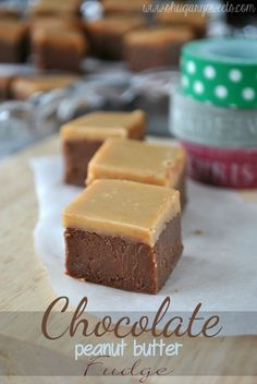 Chocolate Peanut Butter Fudge- rich chocolate fudge with a layer of peanut butter ganache #fudge #chocolate #peanutbutter