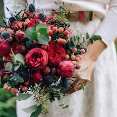 Berries mixed with flowers and greeneries looks stunning on this wedding floral arrangement! Berry Wedding, Red Bouquet Wedding, Bride Bouquets, Red Wedding, Floral Wedding, Fall Wedding, Rustic Wedding, Church Wedding, Purple Bouquets