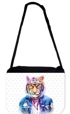 84f4dde027ba Rosie Parker Inc. TM Messenger Bag 11.75  x 15.5  - Hipster Watercolor Tiger