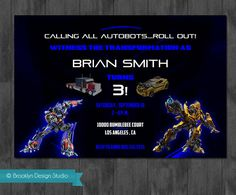 Transformers Boy Birthday Party Invitation