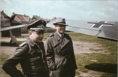 JG 26 Josef Priller and Profesor Kurt Tank (chief designer Focke-Wulf), September 1942