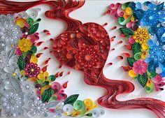 Originale carta Quilling arte parete l'amore di QuillingbyLarisa