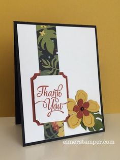 Thank you cards for a luau-themed party?  Maybe?  Great use of the Botanical Blooms from Stampin' Up! by Kristin Kortonick #stampinup