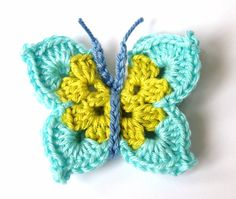 Crochet Butterfly Applique via Etsy