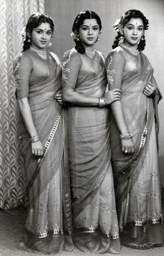 The Travancore Sisters were a famous dancing trio and one of them, Padmini, was a major star in South Indian cinema and also acted in Hindi films. ~A bevy of beauties Vintage Bollywood, Indian Bollywood, Bollywood Stars, Bollywood Actress, Bollywood Masala, Bollywood Fashion, Vintage India, Indian Heroine, Evolution Of Fashion
