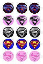 "15 1"" - Precut Bottle Cap Circle Images - Superman S Superhero Logo Mix"