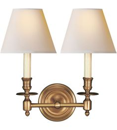 Visual Comfort Studio French 2 Light Decorative Wall Light in Hand-Rubbed Antique Brass S2112HAB-NP #visualcomfort #lightingnewyork #lighting
