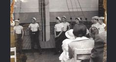 "Once a year, Trump's middle school put on a play. In May 1958, they staged a production of Gilbert & Sullivan's ""H.M.S. Pinafore."" Trump (second from left) played the boatswain's mate."
