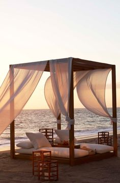 Ralph Lauren Home's Game Reserve Net fabric catches the beach breeze during a gorgeous California sunset.