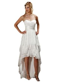 Heartgown Sweetheart Laceup Ruffle Sleeveless Chiffon HiLo Beach Wedding Gown White US6 *** Continue to the product at the image link.(This is an Amazon affiliate link and I receive a commission for the sales)