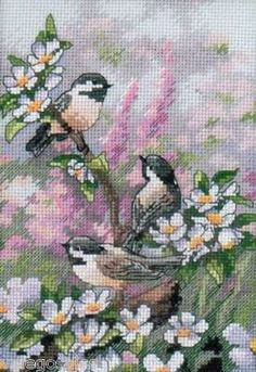 Counted Cross Stitch kit CHICKADEES IN SPRING