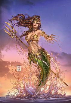 Zenescope Entertainment Grimm Fairy Tales presents: The Little Mermaid cover, variant C. Lineart: Colors: Zenescope GFT:TheLittleMermaid pencils: M. Mermaid Artwork, Mermaid Drawings, Mermaid Tattoos, Art Drawings, Siren Mermaid, Mermaid Fairy, Fantasy Mermaids, Mermaids And Mermen, Grimm Fairy Tales