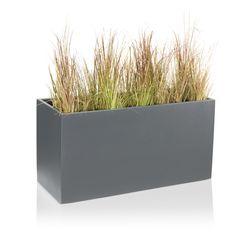 Blumenbehälter rechteckig VISIO 50 Pflanztrog Fiberglas grau matt