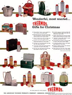 Thermos! 1956.  My uncle worked for Thermos in Nashville during the 1960's. I had a whole selection of lunch box sets during grade school.