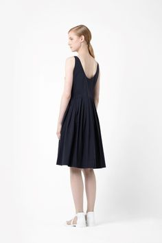 V-neck pleated dress COS