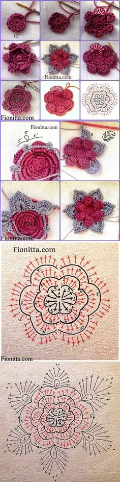 crochet tutorial These Crochet Flowers are pretty as a picture and perfect for adding to hats, brooches, hair clips, bags and so much more! Crochet Diagram, Crochet Chart, Crochet Motif, Crochet Stitches, Crochet Doilies, Crochet Flower Patterns, Crochet Designs, Crochet Flowers, Point Granny Au Crochet