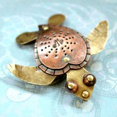 Cute Sea Turtle Awareness Necklace Riveted Brass Copper Pendant