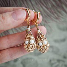 Серьги и кулон «Ivory Gold Fabergé» Коллекция «Fabergé». Серьги из жемчуга Swarovski и японского бисера