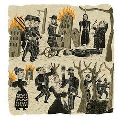 Ilustración de Marcelo Escobar en homenaje a la estética de la Lira Popular Chilena.