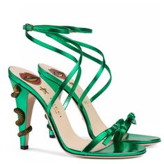 Gucci green strappy high heel sandals w snake heel Wrap Shoes, Bow Shoes, Shoes Heels, Stilettos, Women's Pumps, Stiletto Heels, Womens Summer Shoes, Womens High Heels, Designer Shoes