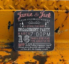 Stock the Bar Engagement Party invitation Coasters  by Product