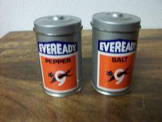 Eveready Batteries Salt/Pepper Shakers
