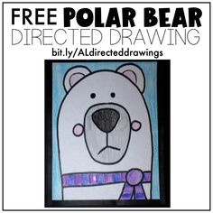 FREE Directed Drawings (Step into Grade with Mrs. 2nd Grade Crafts, 2nd Grade Art, Grade 2, Bear Drawing, Drawing For Kids, Drawing Lessons, Art Lessons, Artic Animals, Kindergarten Writing
