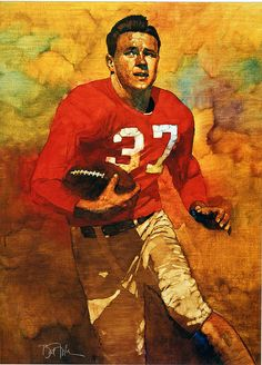 Doak Walker, oil on canvas painting by Bart Forbes 1989.