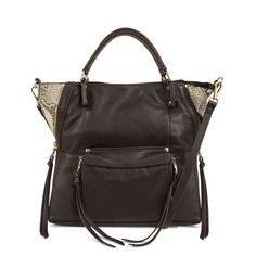 Kooba Everette Satchel with python leather in chocolate