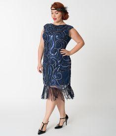Unique Vintage Plus Size Navy Blue   Silver Swirl Iris Fringe Flapper Dress 50d1666b5