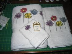 Towel Set of 3Plush Mother's Day Flowers white by ApronsGallery, $78.99