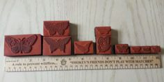 LOT 11 Butterfly Foam Backed Rubber Stamp w *BONUS* Rollergraph Dragonfly Stamp #Rollergraph
