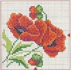 kanaviçe gelincik modeli Blackwork Embroidery, Cross Stitch Embroidery, Embroidery Patterns, Hand Embroidery, Cross Stitch Patterns, Pattern Fashion, Handicraft, Needlepoint, Poppies