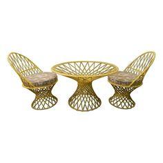 Vintage Yellow Spun Fiberglass Patio Set - $1,398 Est. Retail - $400 on Chairish.com #outdoorliving