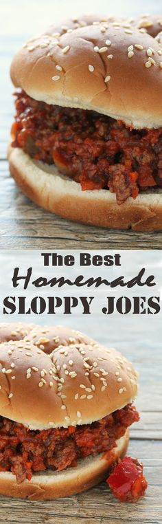 The Best Homemade Sloppy Joes Ever from The Stay At Home Chef beef recipes casserole;grou d beef recipes;chicken and beef re Homemade Sloppy Joes, Sloppy Joes Recipe, Best Sloppy Joe Recipe, Homemade Sloppy Joe Recipe, Healthy Sloppy Joes, Homemade Recipe, Meat Recipes, Cooking Recipes, Healthy Recipes