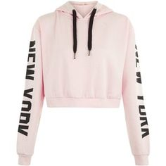 Parisian Pink New York Slogan Cropped Hoodie