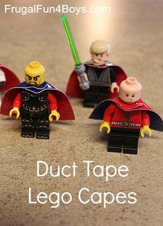 How to make duct tape Lego capes - good idea for a bad weather day! lego capes, lego ideas, duct tape crafts how to, tape lego