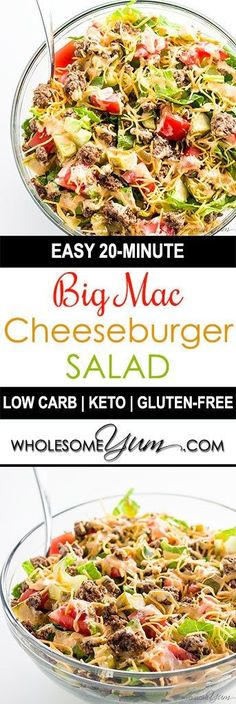 This easy low carb Big Mac salad recipe is ready in just 20 minutes! A gluten-fr… This easy low carb Big Mac salad recipe is ready in just 20 minutes! A gluten-free, keto cheeseburger salad like this makes a healthy lunch or dinner. Ketogenic Recipes, Diet Recipes, Healthy Recipes, Ketogenic Diet, Recipies, Vegetarian Recipes, Easy Recipes, Healthy Low Carb Meals, Carb Free Meals