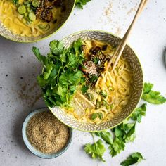 Coconut Curry Ramen Noodles with Marinated Mushrooms
