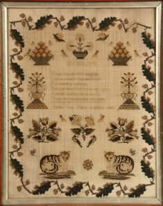 New England Petit Point Sampler in silk on linen, by Susan Guy, aged 13 years, 1848