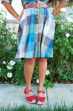 Blue Plaid with red shoes. Supa cute!