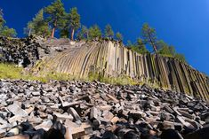 Devils Postpile National Monument (massive rock formation of hexagonal columns formed by an ancient lava flow)