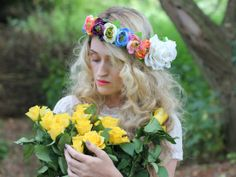 Summer wedding flower crown by rougepony on Etsy, £58.00