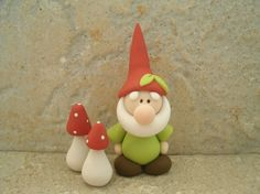 *POLYMER CLAY ~ Gnome and Mushroom Pair