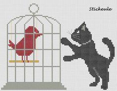 Katze mit vogel (Cat with bird) by Stitckeule blogger Renate.