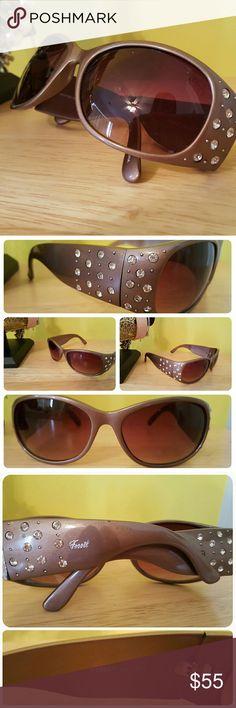 Fossil Bronze Sunstone Rhinestone Sunnies! EUC Fossil Chocolate Brown/Bronze Sunstone Rhinestone Sunglasses Fossil Accessories Sunglasses