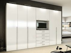 Bedroom Ideas Furniture Mesmerizing White High Gloss Built In Wardrobe With Tv…