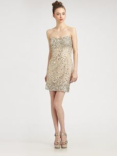 Alice Olivia Larken Sequined Mini Sweetheart Dress Saks com by Saks Fifth Avenue on HavetoHave.com