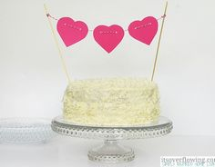 I made my delicious Easy Coconut Cream Cake for my family and topped it with this super cute Mini Heart Garland Cake Topper. Diy Cake Topper, Cake Toppers, Saint Valentine, Be My Valentine, Girl Birthday, Birthday Parties, 50th Birthday, Heart Garland, Heart Banner