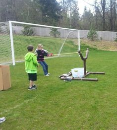 DIY Angry Birds game made from PVC pipes.